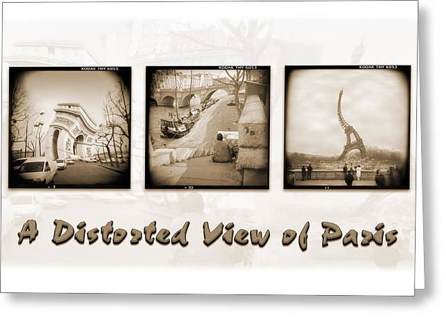 Toy Camera Greeting Cards - A Distorted View Of Paris Greeting Card by Mike McGlothlen