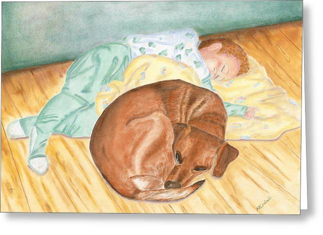 Pajamas Pastels Greeting Cards - A Dog and Her Boy Greeting Card by Arlene Crafton
