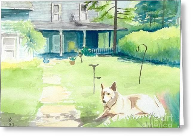 Framed Dog House Print Greeting Cards - a dog at the geddes farm -- Ann Arbor  Michigan Greeting Card by Yoshiko Mishina