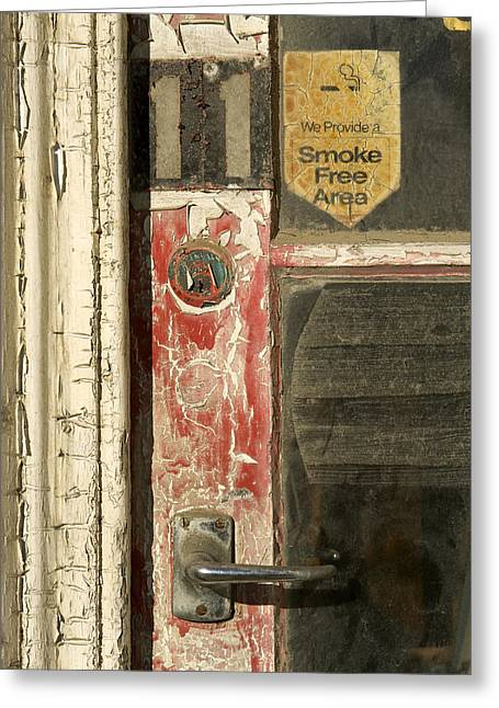 Painted Wood Greeting Cards - A Door And Peeling Paint Of Historic Greeting Card by Bill Hatcher