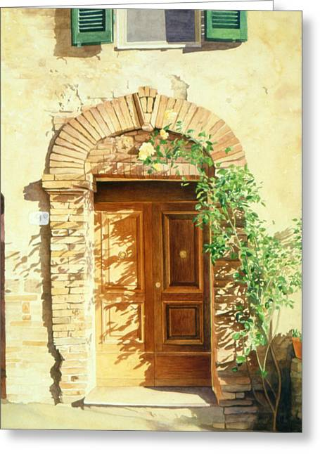French Doors Greeting Cards - A Doorway in Tuscany Greeting Card by Bob Nolin