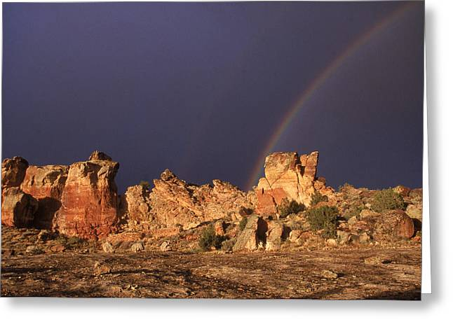 Pre Columbian Architecture And Art Greeting Cards - A Double Rainbow After A Storm Over An Greeting Card by Ira Block