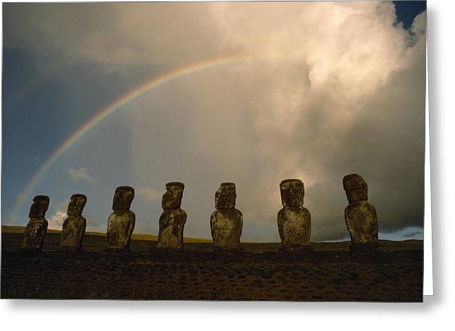 Devotional Photographs Greeting Cards - A Double Rainbow Arches Over Seven Greeting Card by James P. Blair