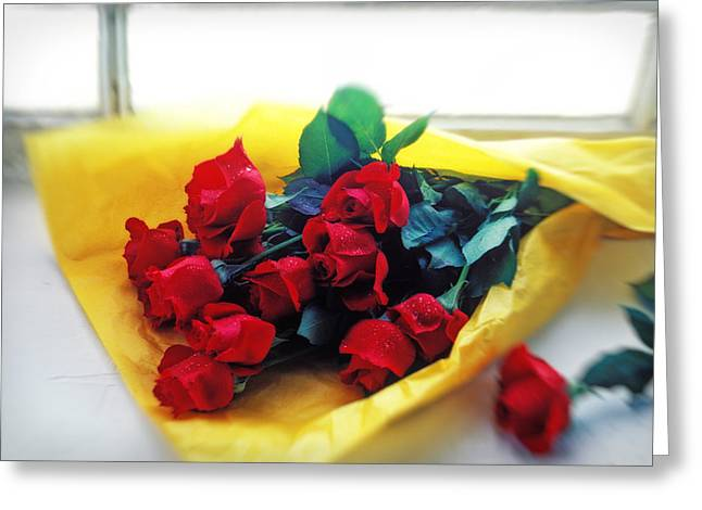Romantic Floral Greeting Cards - A dozen red roses Greeting Card by Garry Gay
