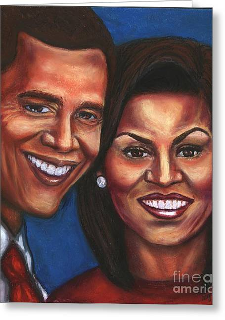 Michelle Obama Pastels Greeting Cards - A Dream Came True Greeting Card by Alga Washington