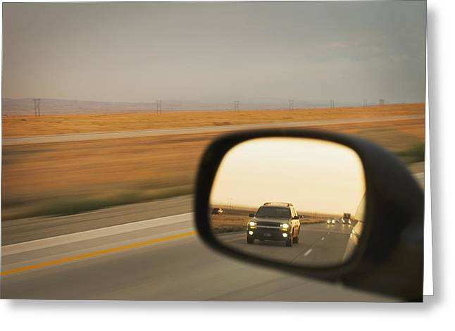 Wing Mirror Greeting Cards - A Drivers View Of The Car Greeting Card by Alan Majchrowicz