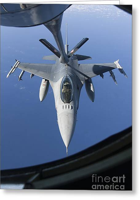 Cooperation Greeting Cards - A Dutch F-16am Conducts In-flight Greeting Card by Gert Kromhout