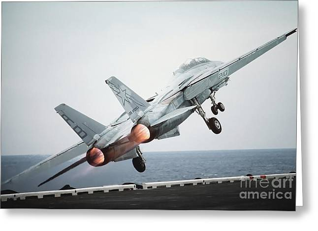 Thrust Greeting Cards - A F-14a Tomcat Aircraft Is Launched Greeting Card by Stocktrek Images