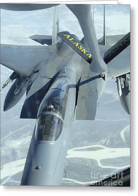 Mechanism Photographs Greeting Cards - A F-15 Eagle Receives Fuel Greeting Card by Stocktrek Images