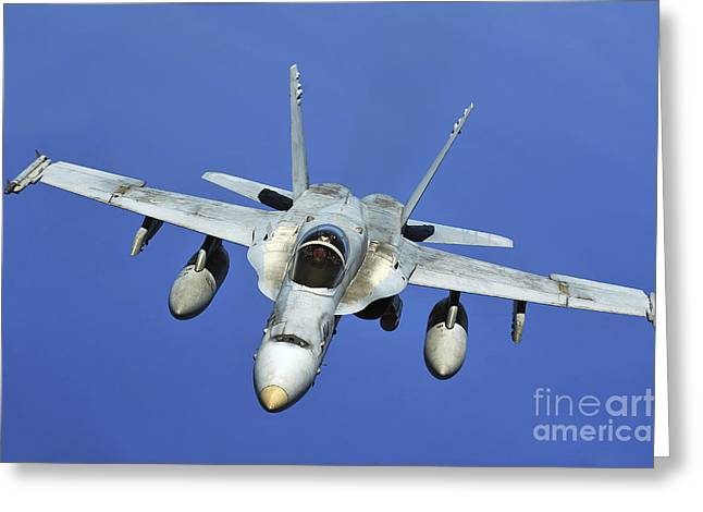 F-18 Greeting Cards - A Fa-18 Hornet Participates Greeting Card by Stocktrek Images