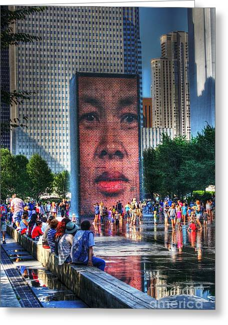 Chicago Circle Greeting Cards - A Face In The Crowd Greeting Card by Dan Stone