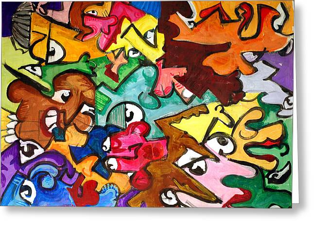 Jame Hayes Paintings Greeting Cards - A Face in the Crowd Greeting Card by Jame Hayes