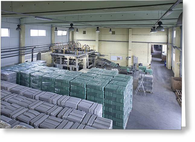 Manufacturing Greeting Cards - A Factory Floor A Processing Plant Greeting Card by Jaak Nilson