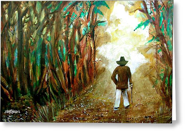 Seth Weaver Greeting Cards - A Fall Walk in the Woods Greeting Card by Seth Weaver
