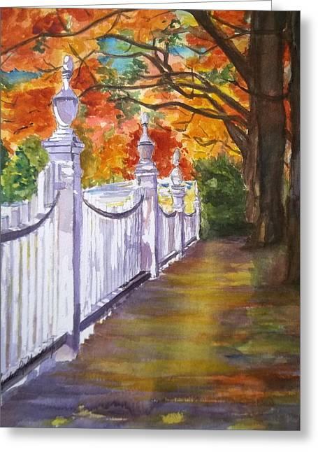 A Fall Walk Greeting Card by Linda L Stinson