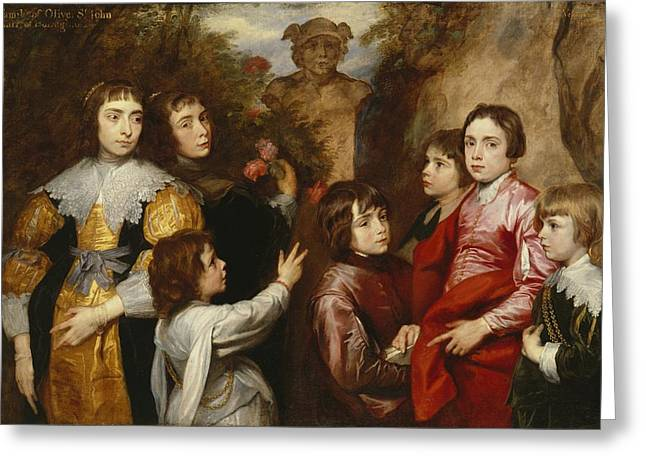 Conversations Greeting Cards - A Family Group Greeting Card by Sir Anthony van  Dyck