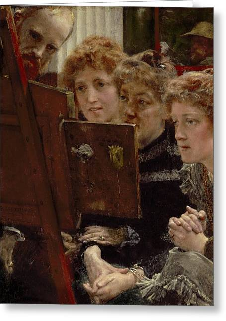 Clasped Greeting Cards - A Family Group Greeting Card by Sir Lawrence Alma-Tadema