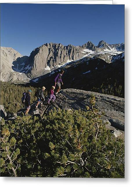 National Peoples Greeting Cards - A Family Hikes A Rocky Trail Greeting Card by Gordon Wiltsie