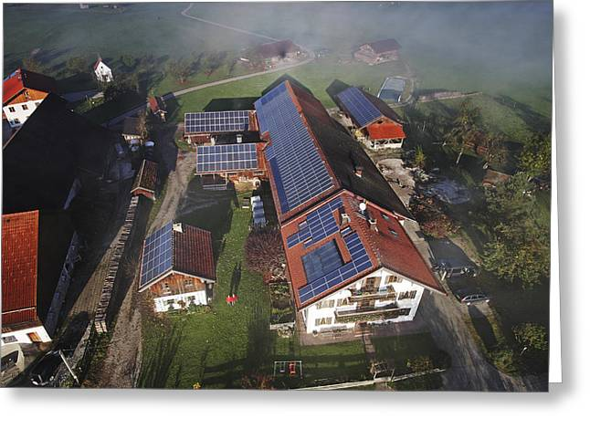 A Farm In Bavaria With Solar Greeting Card by Michael Melford