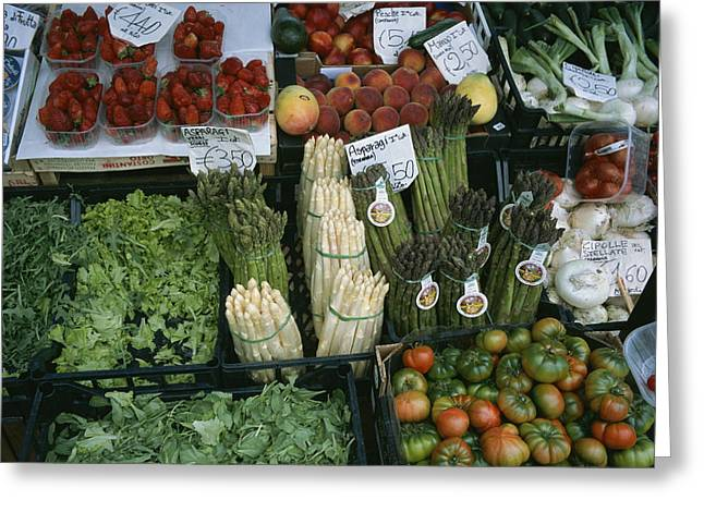 Mango Greeting Cards - A Farmers Market Selling Vegetables Greeting Card by Taylor S. Kennedy