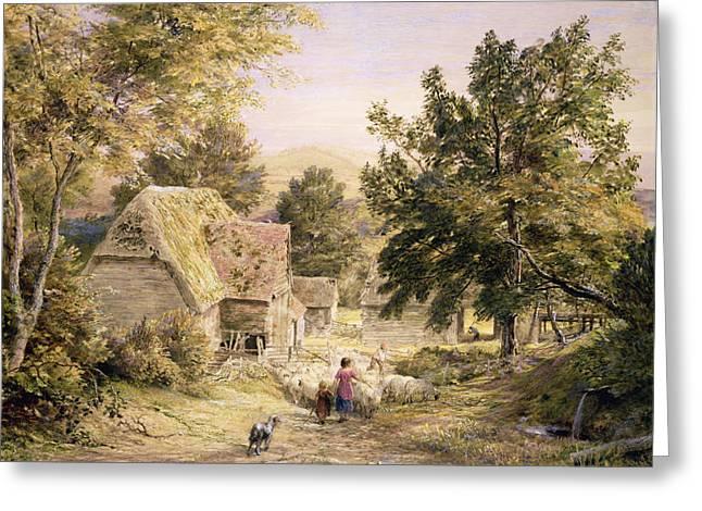 Dog Walking Paintings Greeting Cards - A Farmyard near Princes Risborough Greeting Card by Samuel Palmer