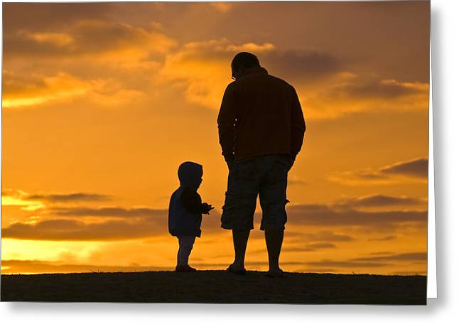 Hand In Pocket Greeting Cards - A Father And His Baby Son Watch Greeting Card by Jason Edwards