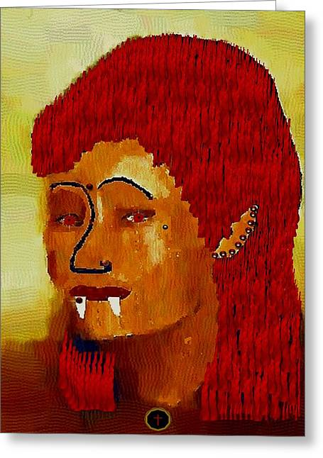 Folkloric Greeting Cards - A Female Modern Vampire Greeting Card by Pepita Selles