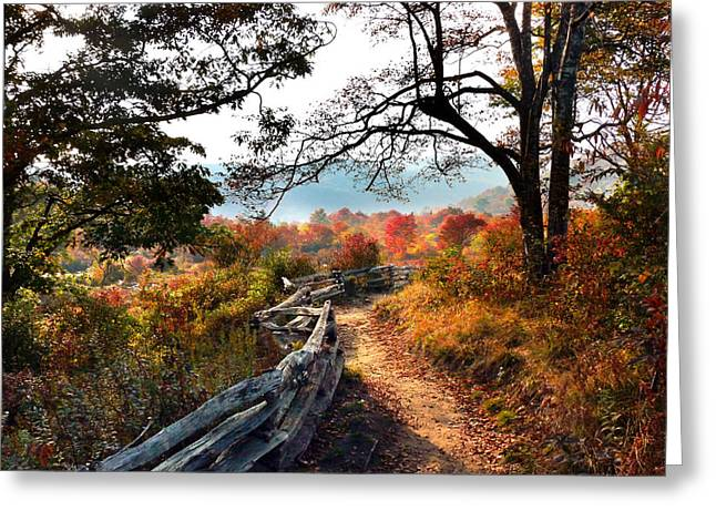 Unite The Hearts Greeting Cards - A Fence-lined Path Leads To A Mountain Greeting Card by Amy White & Al Petteway