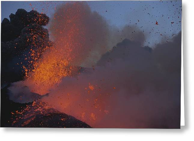 Volcanoes And Volcanic Action Greeting Cards - A Fiery New Cone Explodes With Fury Greeting Card by Carsten Peter