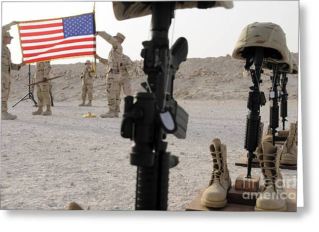 Patriotic Photography Greeting Cards - A Final Guardmount Ceremony To Honor Greeting Card by Stocktrek Images