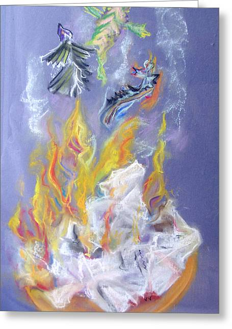 Burning Pastels Greeting Cards - A Fine Burn Greeting Card by Ginna Viveros