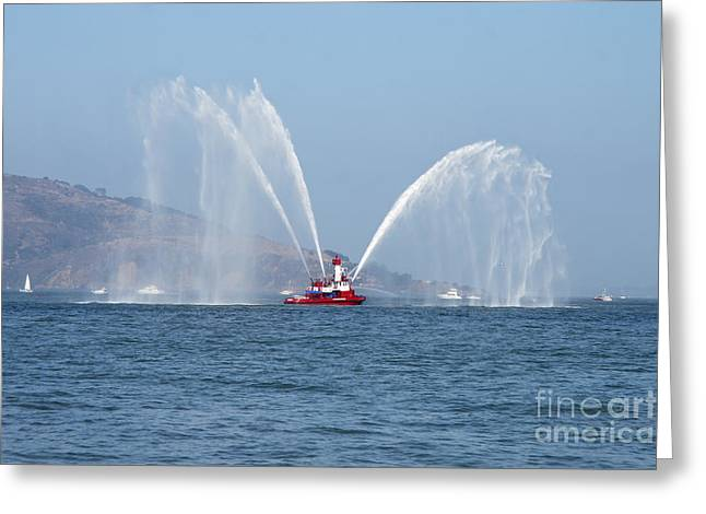 Fireboat Greeting Cards - A Fire Boat Greeting Card by Ted Kinsman