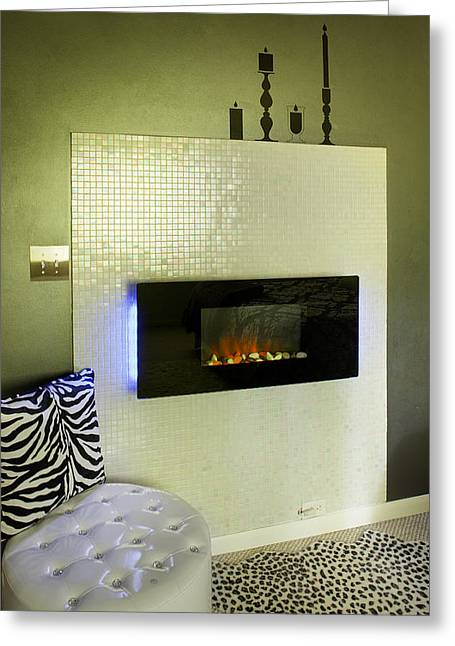 Leopard Skin Greeting Cards - A Fireplace With A Raised Fire Black Greeting Card by Christian Scully