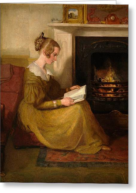 Lounge Paintings Greeting Cards - A Fireside Read Greeting Card by William Mulready