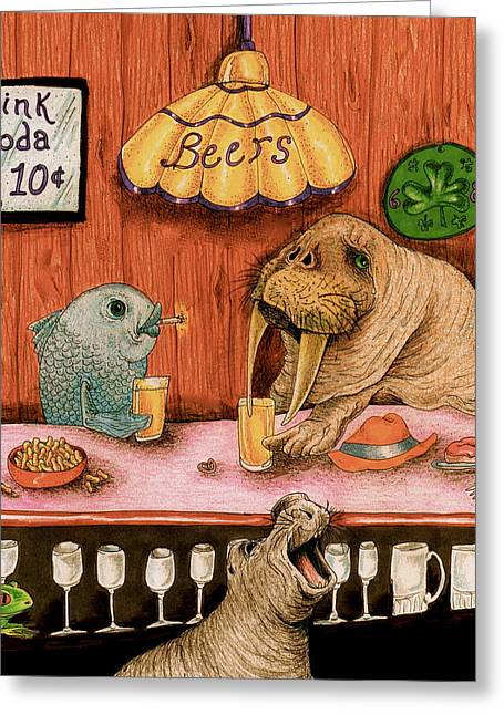 Sea Lions Drawings Greeting Cards - A fish walked into a bar Greeting Card by Julie McDoniel