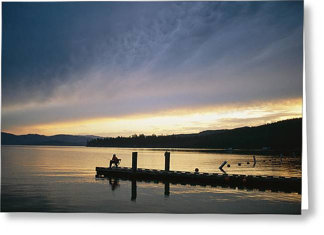Reflection.etc Greeting Cards - A Fisherman At Dawn Tries His Luck Greeting Card by Michael S. Lewis