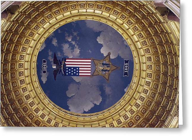 Governmental Greeting Cards - A Flag And State Emblem In The Dome Greeting Card by Joel Sartore