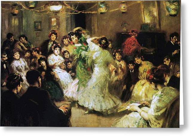 Francis Greeting Cards - A Flamenco Party at Home Greeting Card by Francis Luis Mora