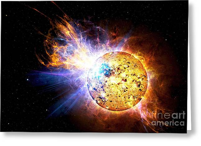 Ev Greeting Cards - A Flare On The Star Known As Ev Greeting Card by Stocktrek Images