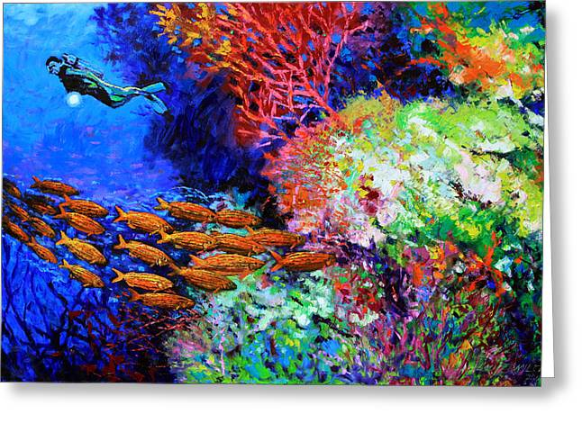 Golden Fish Paintings Greeting Cards - A Flash of Life and Color Greeting Card by John Lautermilch