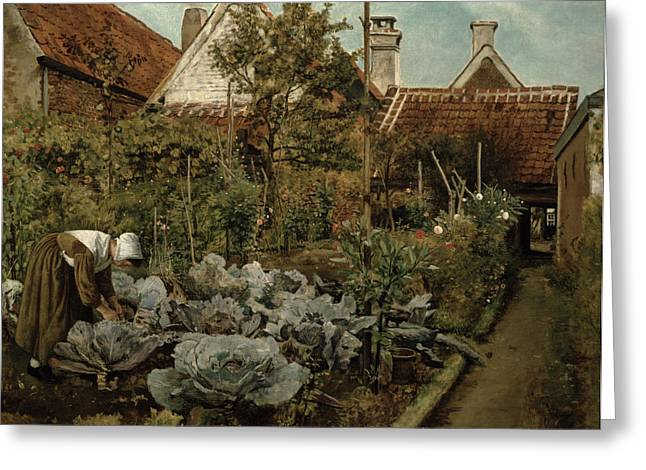 Park Scene Greeting Cards - A Flemish Garden Greeting Card by Henri de Braekeleer