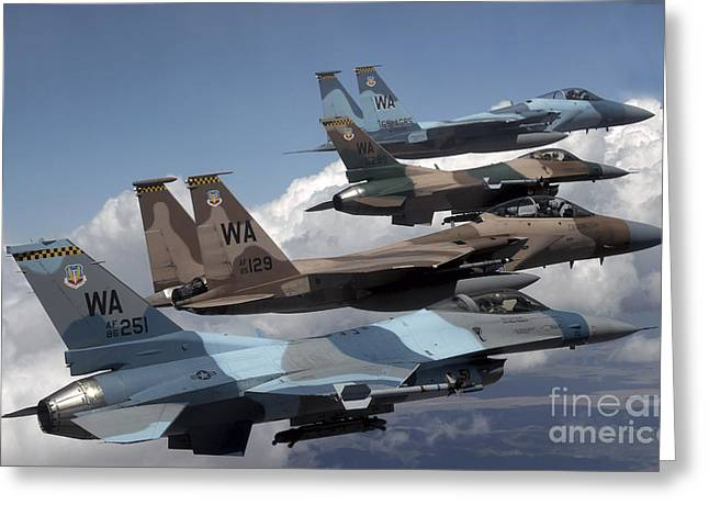 Aggressor Greeting Cards - A Flight Of Aggressor F-15 And F-16 Greeting Card by Stocktrek Images