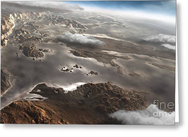 Rendition Greeting Cards - A Flooded Aram Chaos Region Greeting Card by Steven Hobbs