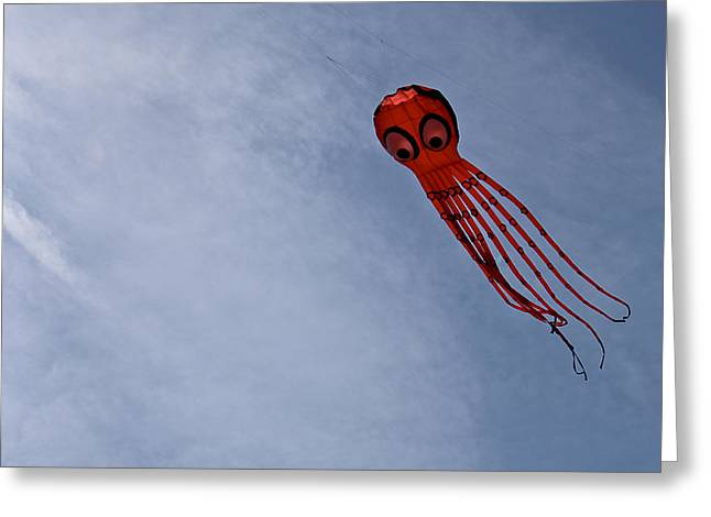 Kite Greeting Cards - A Flying Octopus Greeting Card by Kieran Brimson