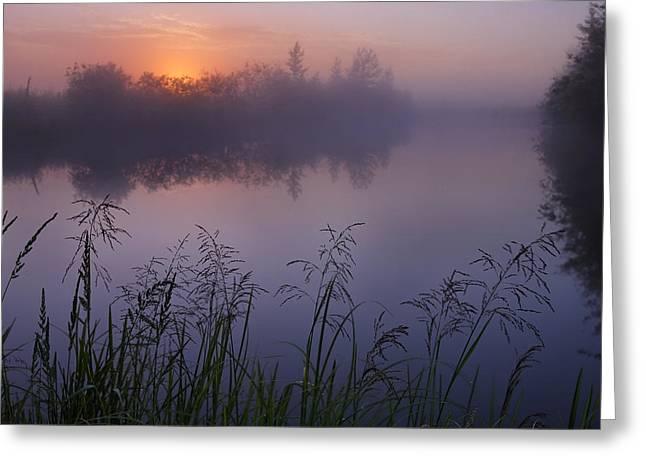 Foggy Day Greeting Cards - A Foggy Summer Sunrise On A Prairie Greeting Card by Dan Jurak