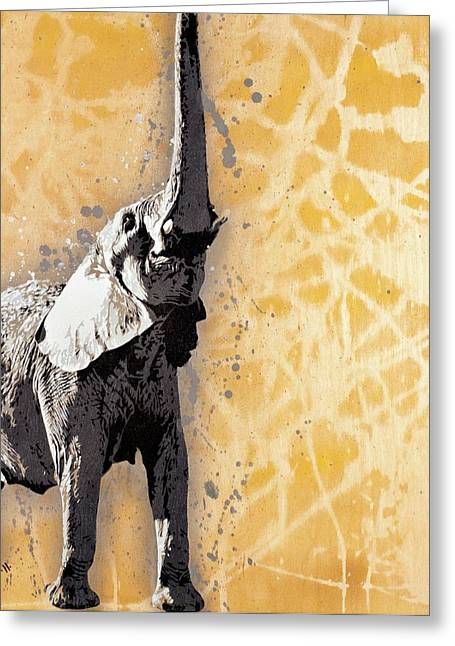 Stencil Spray Greeting Cards - A Force to Be Reckoned With Greeting Card by Iosua Tai Taeoalii