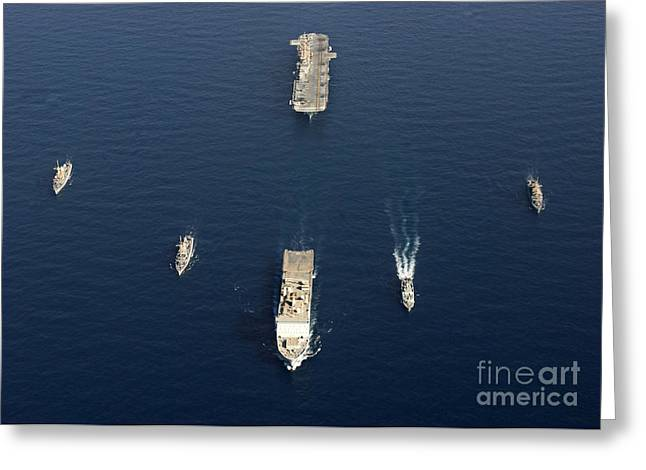 Strike Group Greeting Cards - A Formation Of Ships At Sea Greeting Card by Stocktrek Images