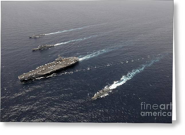 Supercarrier Greeting Cards - A Formation Of Ships Traveling At Sea Greeting Card by Stocktrek Images