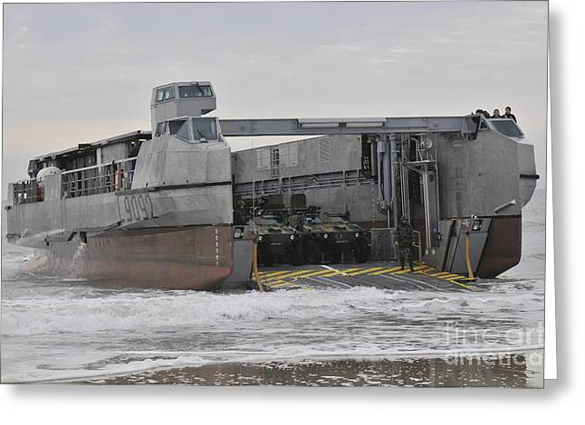French Open Greeting Cards - A French Landing Craft Comes Ashore Greeting Card by Stocktrek Images