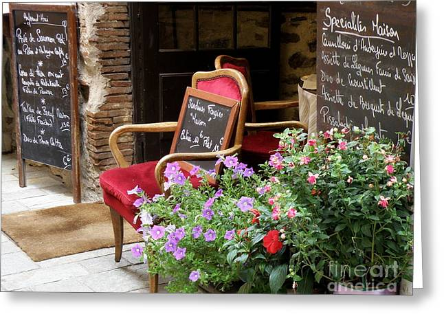 Grimaud Greeting Cards - A French Restaurant Greeting Greeting Card by Lainie Wrightson